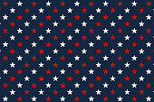 Red and white stars on blue background, seamless pattern.
