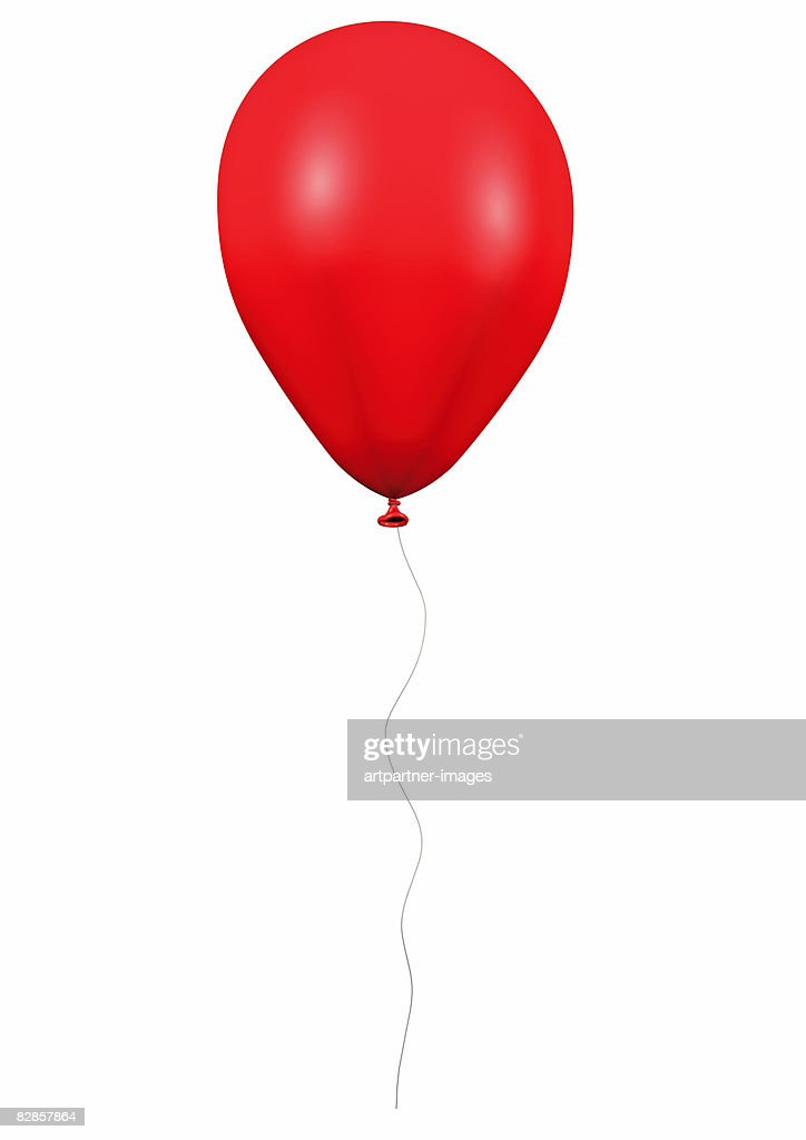 Red Balloon With Cord On White Background Stock ...