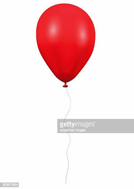 red balloon with cord on white background