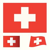 red flag background with white cross swiss icon