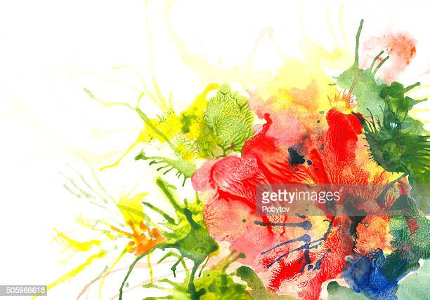 Red flower - watercolor art abstract background