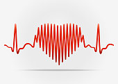 Red heart with the transition to ECG with shadow. Illustration on white background with shadow