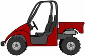 This illustration depicts a red UTV recreational vehicle.