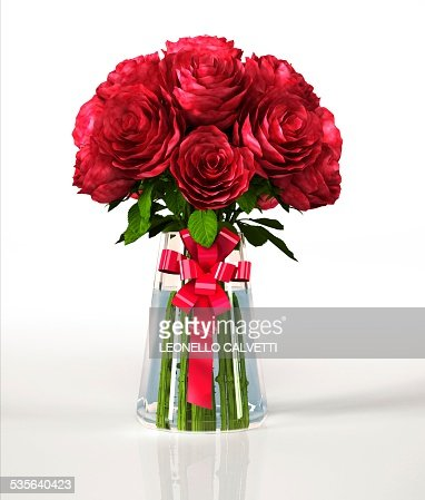 Red roses in a vase artwork  Stock Illustration