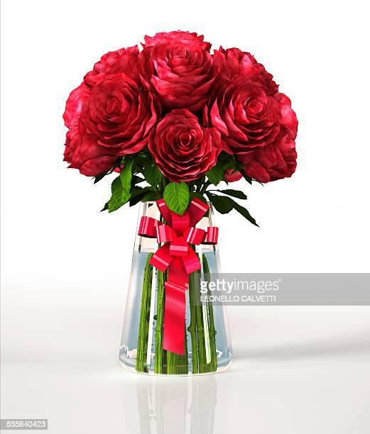 Red roses in a vase, artwork