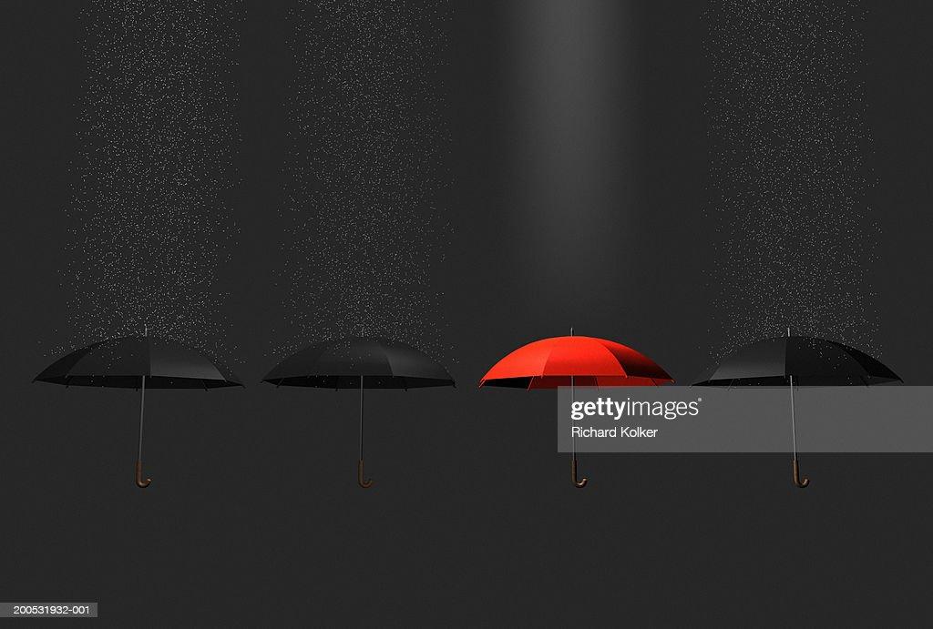 Red umbrella in row of black umbrellas : Stock Illustration