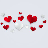 valentine holiday celebration card with red and white hearts on white background