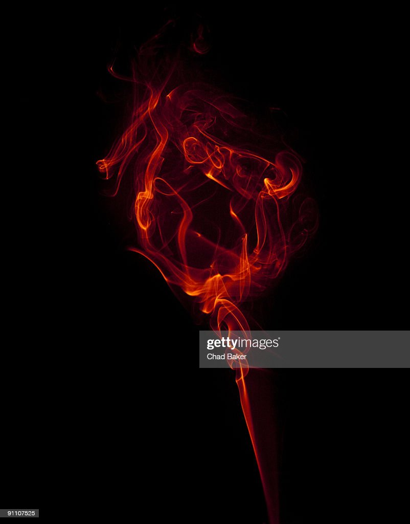 Red wisp of smoke suggesting a flower : Stock Illustration