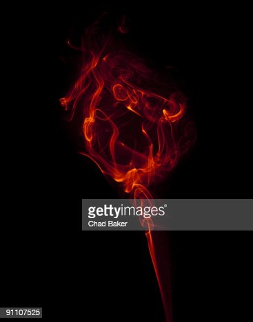 Red wisp of smoke suggesting a flower : Ilustración de stock