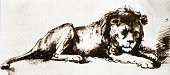 """""""Sketch of a Lion by Rembrandt Harmenszoon van Rijn  (15 July 1606 aa 4 October 1669)A copy onto hand made paper from Dutch Art Illustrated Foldersfrom a portfolio of art """"""""1868 Handzeichnungen Hollae"""