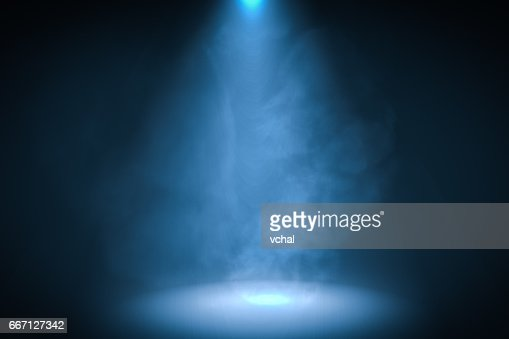3D rendered illustration of blue spotlight background with smoke. : Stock Illustration