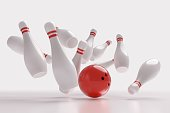 3D rendered illustration of bowling ball knocking down pins (Strike). White background.