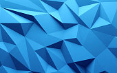 3D rendering Blue color triangle geometrical background