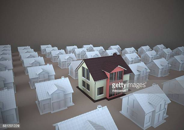 3D rendering, Family homes standing out of rows
