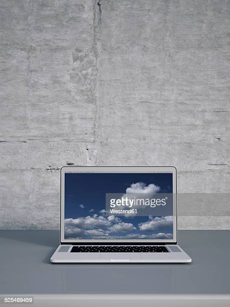 3D Rendering, laptop at concrete wall