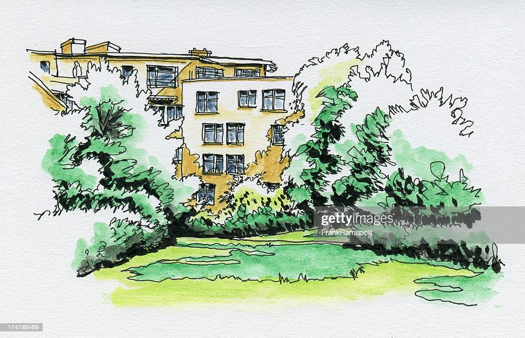 Residential Building Green Park Watercolor Ink Sketch : Stock Photo