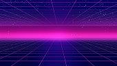 Retro futuristic background 1980s style 3d illustration. Digital landscape in a cyber