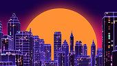 Retro futuristic skyscraper city 1980s style 3d illustration. Digital landscape in a cyber