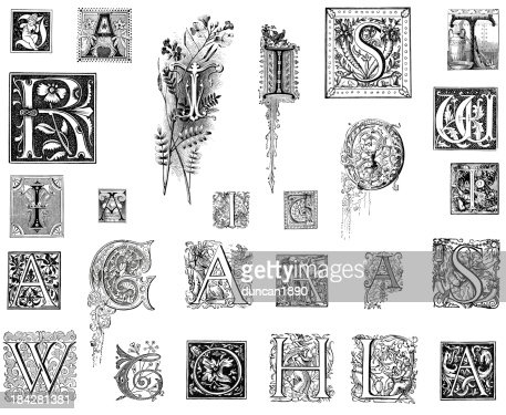 Medieval Illuminated Letter Stock Illustrations And