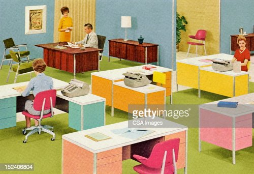 retro office stock illustration getty images