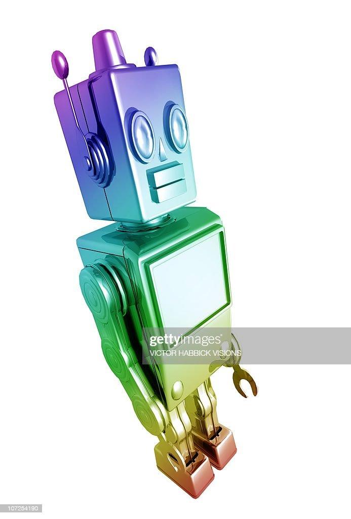 Retro robot, artwork : Stock Illustration