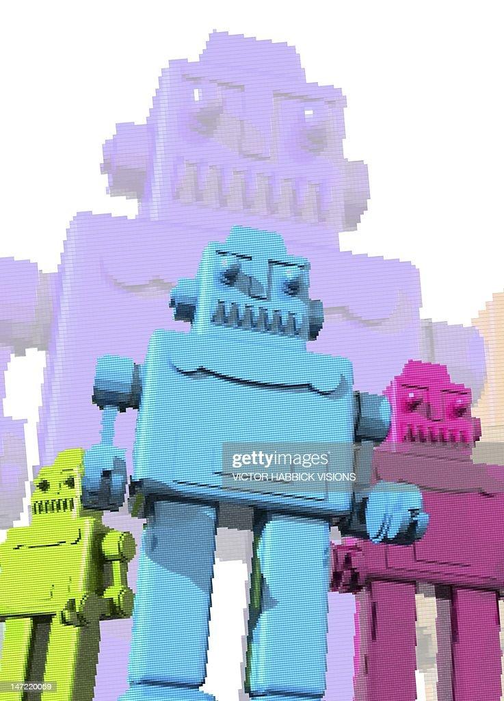 Retro robots, artwork : Stock Illustration