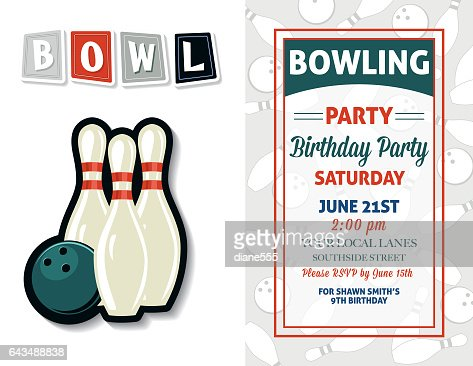 Retro Style Bowling Birthday Party Invitation Template Vector Art – 21st Party Invitation Templates