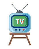 Retro TV with antenna is standing on the chair. White background. illustration