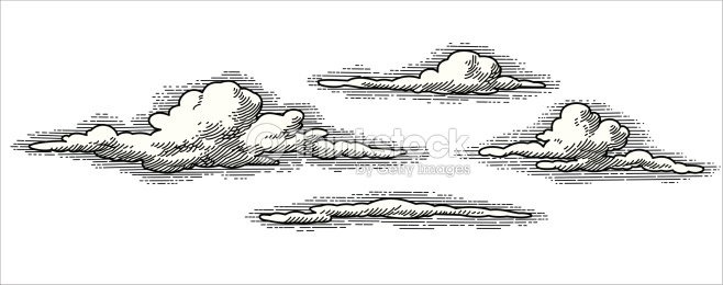 Line Art Clouds : Retro vector clouds art thinkstock