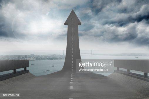 Road turning into arrow : Stock Illustration