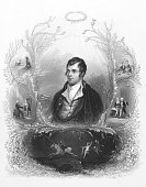Robert Burns (1759-1796) on engraving from 1844. Scottish poet and lyricist. The national poet of Scotland. Engraved by A.H. Payne and published in London by Brain & Payne 12 Paternoster Row.