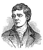 An engraved vintage illustration portrait drawing of Robert Burns, the famous Scottish poet and author of Auld Lang Syne, from a Victorian book dated 1854 that is no longer in copyright