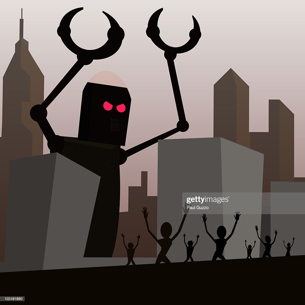 Robot attacking city : Stock Illustration
