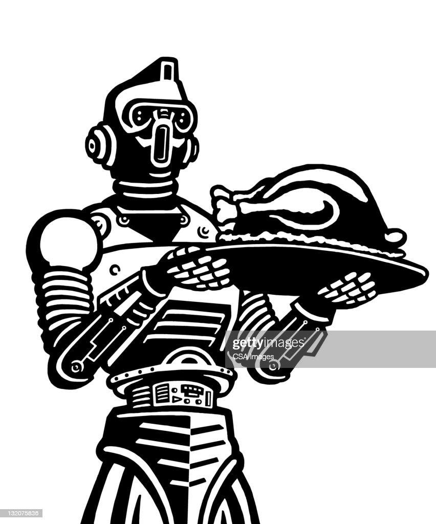 robot holding turkey stock illustration getty images
