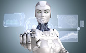 Robot is working with high tech touchscreen. 3D illustration