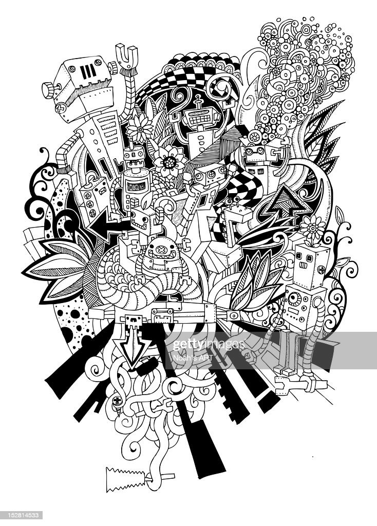 Robot paradise : Stock Illustration