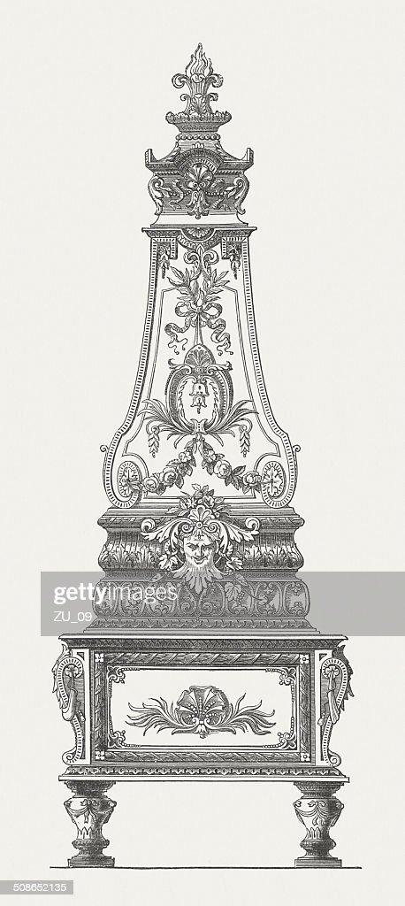 Rococo stove in Majolica, designed by Seidel & Son, Dresden : Stock Illustration