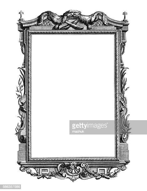 Baroque orchestral music stock illustrations and cartoons for Rococo style frame