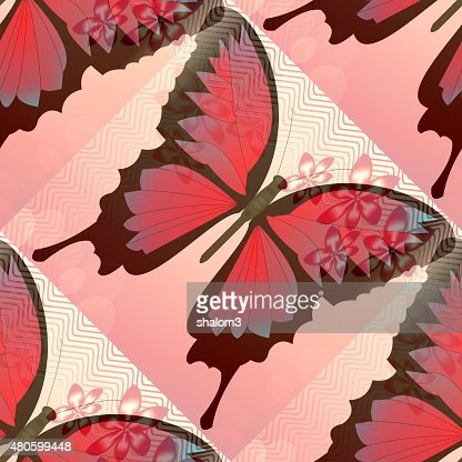 Romantic pink and red background with blended butterfly motif : Stock Illustration