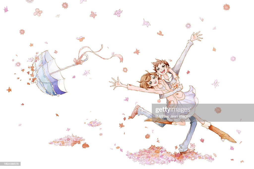 Romantic young couple dancing in the flower rain : Stock Illustration