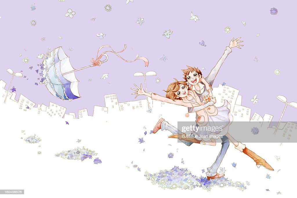 Romantic young couple dancing in the flower rain with city background : Stock Illustration