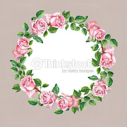 Rose Flower Wreath Floral Circle Border Watercolor Stock Illustration