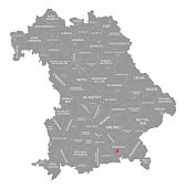Rosenheim city red highlighted in map of Bavaria Germany
