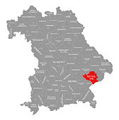 Rottal-Inn county red highlighted in map of Bavaria Germany