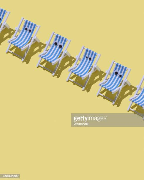 Row of beach chairs with eyes on yellow ground, 3D Rendering