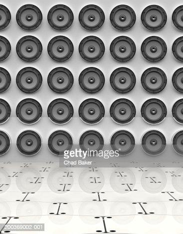 Rows of speakers (Digital) : Illustrazione stock