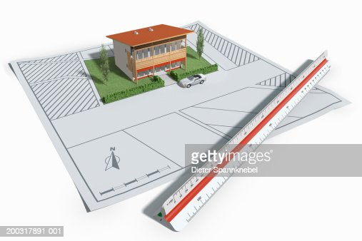Ruler and model house (Digital) : Stock-Illustration