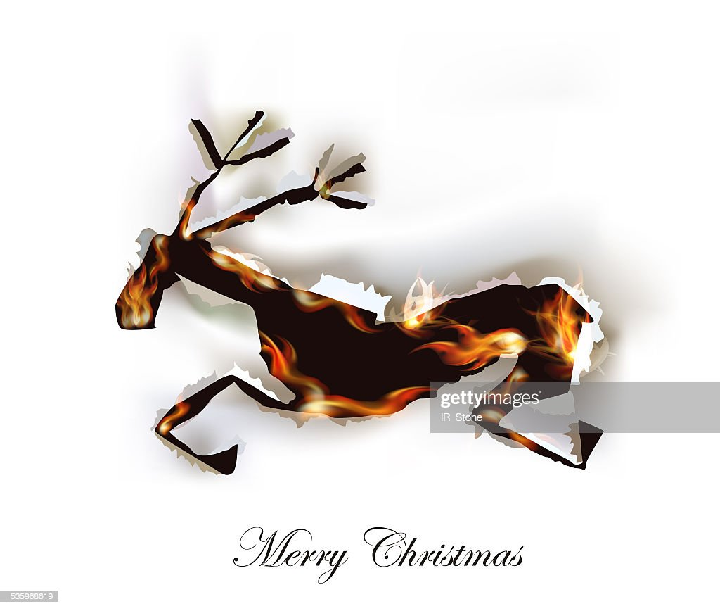Running reindeer, Ripped paper background with flames : Stock Illustration