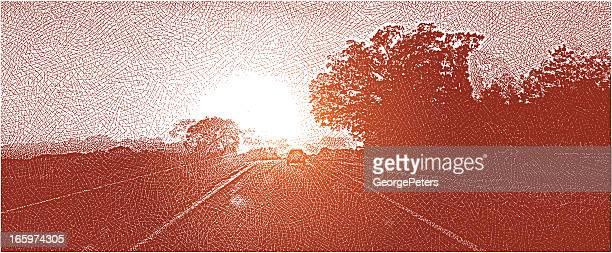 Rural Highway Sunset. Road Trip