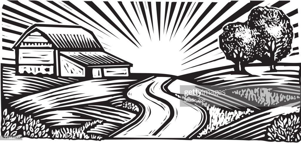 Rural scene with winding road and barn, black and white : Vector Art